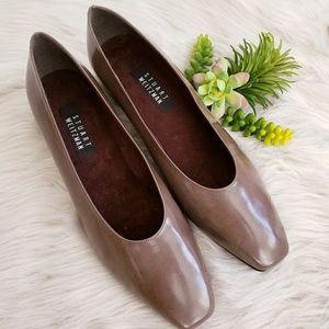 Stuart Weitzman Olive Brown Leather Cuban Heels